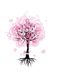 Abstract pink tree with roots for your design vector