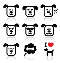 Dog icons set - happy sad angry isolated vector image