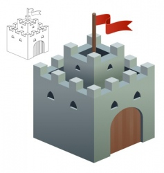 Medieval castle or secure keep vector