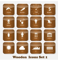 Wooden application icons set vector