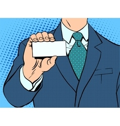 Businessman and business card vector