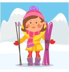 Cartoon people - woman with skis vector