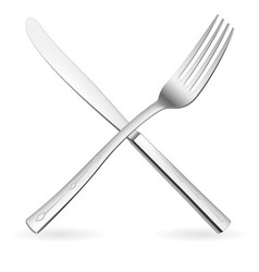 Crossed fork and knife vector