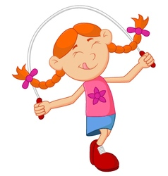 Cartoon girl play jump rope vector