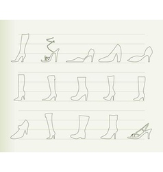 shoe and boot icons vector image