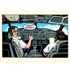 Aircraft cockpit pilots airplane captain vector image
