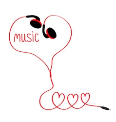 Earphones and red cord in shape of three hearts vector