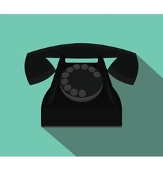 Old black telephone with flat style and long vector