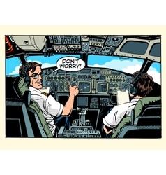 Aircraft cockpit pilots airplane captain vector