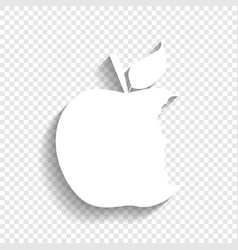 Bited apple sign white icon with soft vector