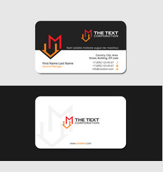 Black business card with letter m and motel icon vector