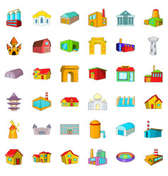 Building icons set cartoon style vector