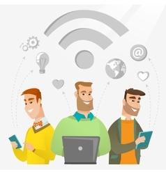 Businessmen taking part in global business vector