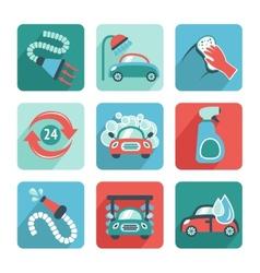 Car wash icons flat vector