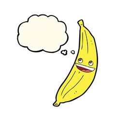 Cartoon happy banana with thought bubble vector