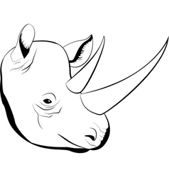 Cartoon simple sketch african rhino with big horns vector