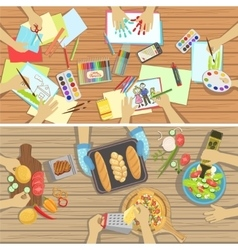 Children craft and cooking lesson two vector