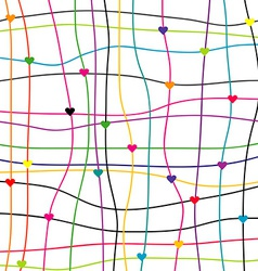 Colorful background with hearts and lines vector