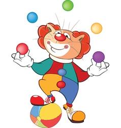 Cute cat clown juggler cartoon vector
