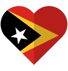 East timor flat heart flag vector
