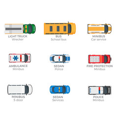 Emergency vehicles top view icons set vector