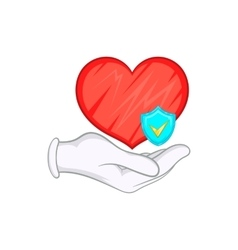 Hand holding red heart and sky blue shield icon vector image
