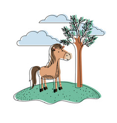 Horse cartoon in outdoor scene with trees and vector