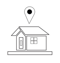 house icon with navigation logo vector image vector image