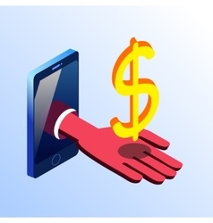 Isometric smartphone showing hand with dollar sign vector image