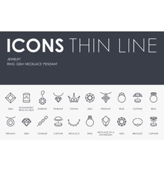 Jewelry thin line icons vector