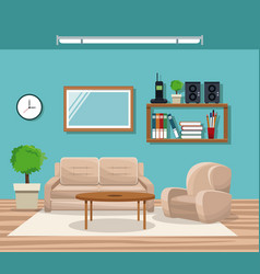 Living room with sofa chair pot tree telephone vector