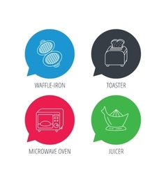 Microwave oven toaster and juicer icons vector