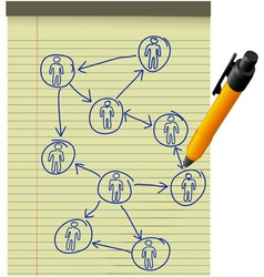 network plan human resources diagram legal pad pen vector image