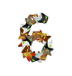 number 6 cat font cats number six pet alphabet vector image vector image