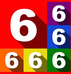 Number 6 sign design template element set vector