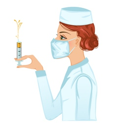 Nurse with syringe vector image vector image