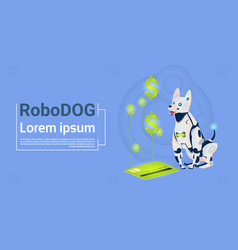 Robotic dog sit with credit card mobile payment vector