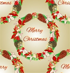 Seamless texture Merry Christmas decoration Wreath vector image vector image