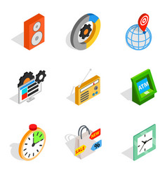 software for the device icons set isometric style vector image