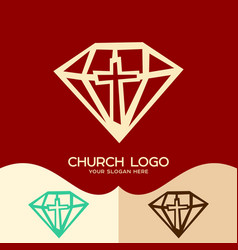 The cross of jesus against the diamond vector