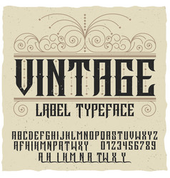 Vintage label typeface poster vector