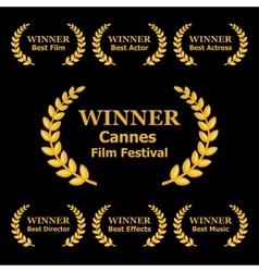 Film awards winners laurels on black background vector