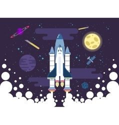 rocket flies in outer space in a vector image