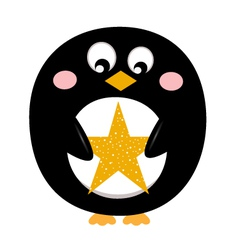 Cute penguin with christmas star vector