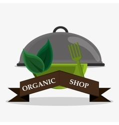 Organic shop bowl fork catering service vector