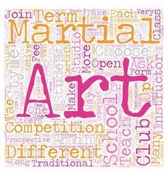 How to choose a martial arts school text vector