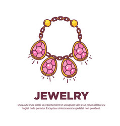 Jewelry golden handmade gem necklace flat vector