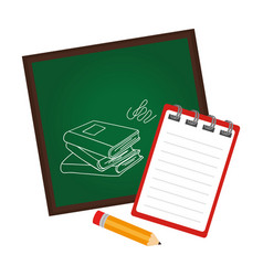 board school with notebook and pencil vector image