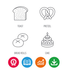 cake pretzel and bread rolls icons vector image