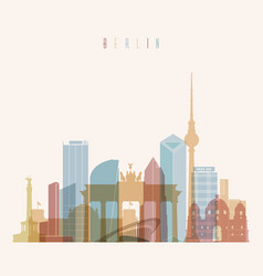 berlin germany skyline silhouette poster vector image